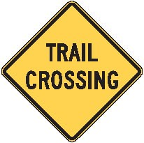 """Image logo for W11-15a - 24"""" x 24"""" x 0.080 Aluminum Sign: TRAIL CROSSING"""