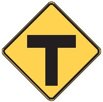 "Image logo for W2-4 - 24"" x 24"" x 0.080 Aluminum Sign: T-INTERSECTION (road ends)"