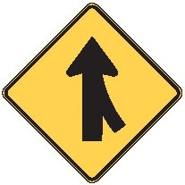 "Image logo for Traffic Signs | W4-1 - 30"" x 30"" x 0.080 Aluminum Sign: MERGE AHEAD (with Left or Right Side Oncoming Traffic)"