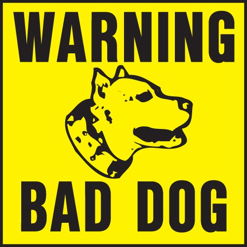 "Image logo for 11"" x 11"" Heavy-Duty Plastic Sign:  WARNING - BAD DOG"