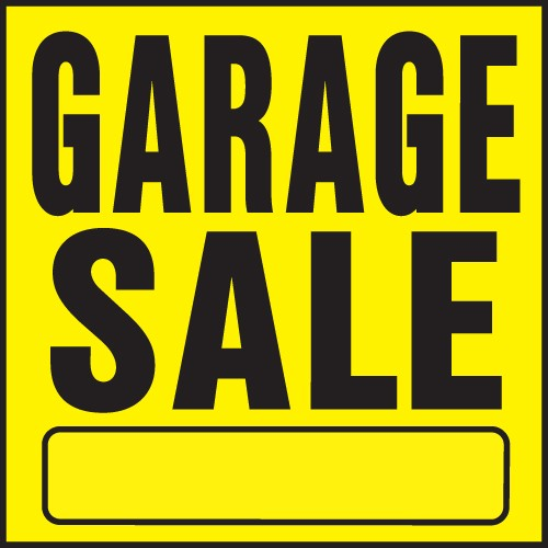 "Image logo for 11"" x 11"" Heavy-Duty Plastic Sign:  GARAGE SALE w/ Blank Info Bar"
