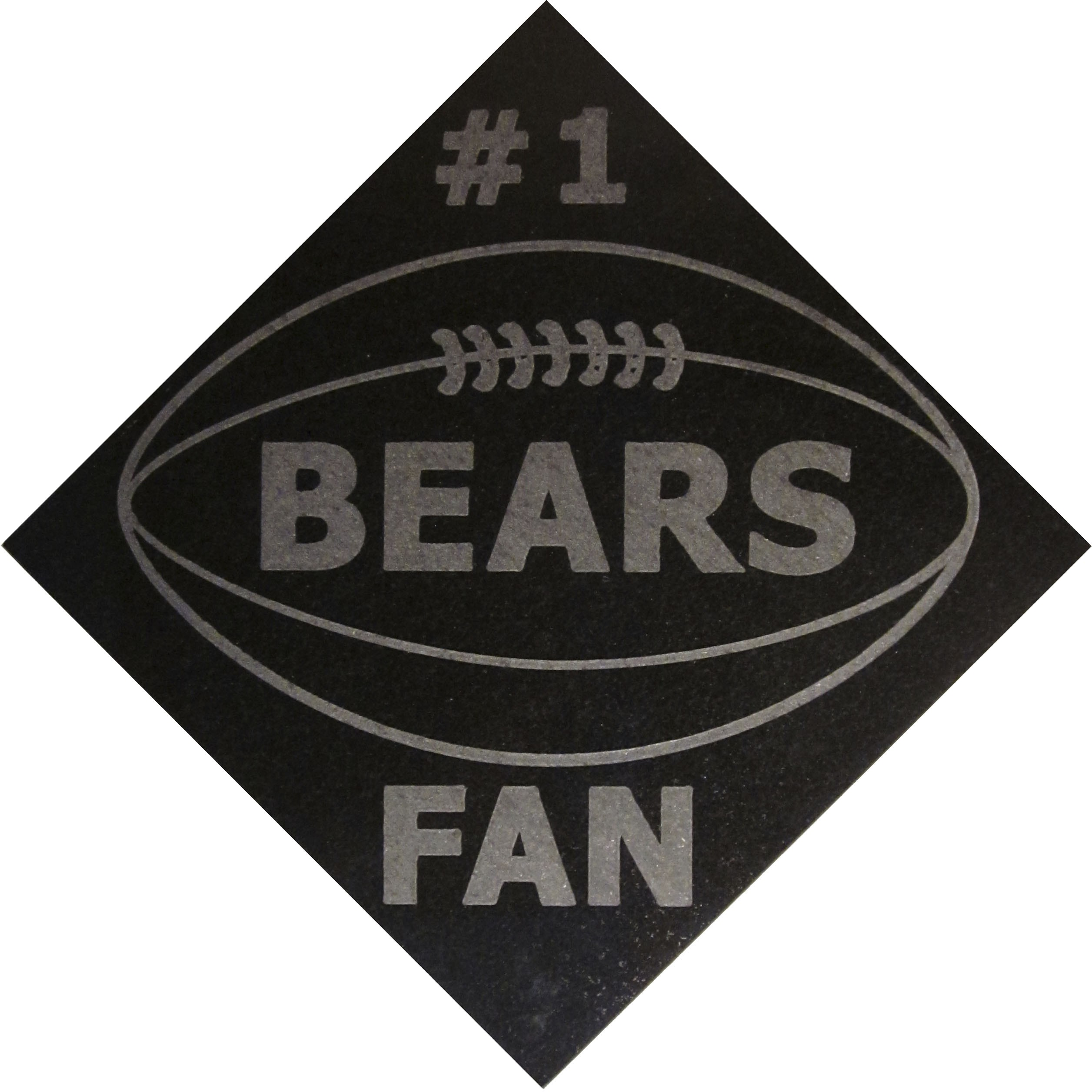"Image logo for 12"" X 12"" Engraved Black Granite Tile - #1 BEARS FAN"