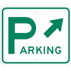 "18"" x 15"" x 0.080 ALUMINUM SIGN: PARKING (with Diagonal Arrow)"