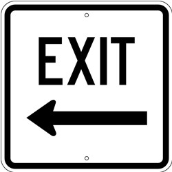 "Image logo for 18"" x 18"" x 0.080 Aluminum Sign: EXIT (Left or Right Arrow)"
