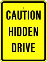 "Image logo for 18"" x 24"" x 0.080 Aluminum Sign: CAUTION - HIDDEN DRIVE"