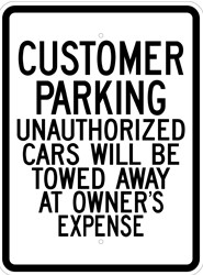 "Image logo for 18"" x 24"" x 0.080 Aluminum Sign: CUSTOMER PARKING - UNAUTHORIZED CARS WILL BE TOWED..."