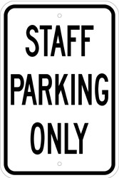 "Image logo for 12"" x 18"" x 0.080 ALUMINUM SIGN:  STAFF PARKING ONLY"