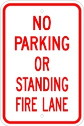"Image logo for 12"" x 18"" x 0.080 Aluminum Sign: NO PARKING OR STANDING - FIRE LANE"