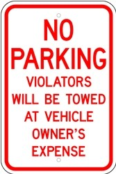 "Image logo for 12"" x 18"" x 0.080 Aluminum Sign: NO PARKING - VIOLATORS WILL BE TOWED..."