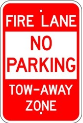 "Image logo for 12"" x 18"" x 0.080 Aluminum Sign: NO PARKING - FIRE LANE - TOW AWAY ZONE"