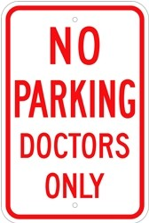 "Image logo for 12"" x 18"" x 0.080 Aluminum Sign: NO PARKING - DOCTORS ONLY"