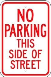"""Image logo for 12"""" x 18"""" x 0.080 Aluminum Sign: NO PARKING THIS SIDE OF STREET"""
