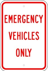"Image logo for 12"" x 18"" x 0.080 Aluminum Sign: EMERGENCY VEHICLES ONLY"