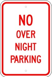 "Image logo for 12"" x 18"" x 0.080 Alum Sign: NO OVERNIGHT PARKING"