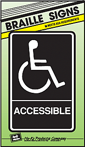 "Image logo for 6"" x 9"" Braille / Tactile Sign:  ACCESSIBLE"