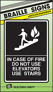 """Image logo for 8"""" x 11"""" Braille / Tactile Sign:  IN CASE OF FIRE....."""