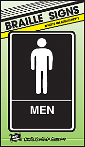 "Image logo for 6"" x 9"" Braille / Tactile Sign:  MEN"