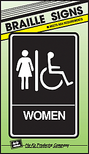 "Image logo for 6"" x 9"" Braille / Tactile Sign:  WOMEN (Wheelchair Accessible)"