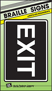 """Image logo for 11"""" x 8"""" Braille / Tactile Sign:  EXIT"""