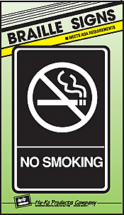 "Image logo for 6"" x 9"" Braille / Tactile Sign:  NO SMOKING"