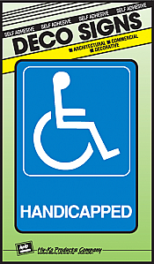 """Image logo for 5"""" x 7"""" DECO Sign:  HANDICAPPED (Wheelchair Accessible - International Symbol)"""