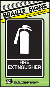 """Image logo for 6"""" x 9"""" Braille / Tactile Sign:  FIRE EXTINGUISHER"""