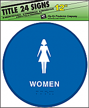 "Image logo for 12"" x 12"" TITLE 24 Braille / Tactile Sign:  WOMEN"